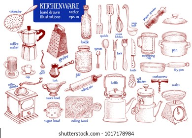 Kitchenware set. Hand drawn vector tableware and kitchen utensils illustration set. Retro sketch style.