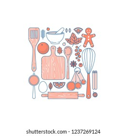 Kitchenware set. Kitchen tools collection. Bakery objects. Pie making. Flat line style. Vector illustration