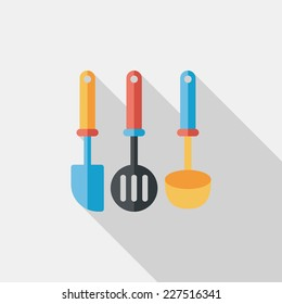 kitchenware spatula flat icon with long shadow,eps10