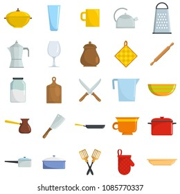 Kitchenware tools cook icons set. Flat illustration of 25 kitchenware tools cook vector icons isolated on white