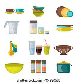 Kitchenware and utensil flat vector. Kitchen cook equipment and kitchenware chef design. Kitchen utensils, home kitchen appliances and restaurant kitchen tools.  Household cuisine interior housewares.
