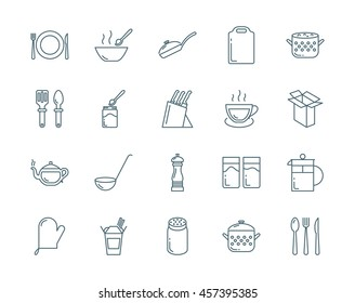 Kitchenware and utensil vector icons set