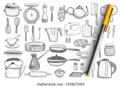Kitchenware and utensils doodle set. Collection of hand drawn kettle, frying pan, mixer, knife, teapot, cutlery, cups and mugs, tableware, mitten and grill isolated on transparent background