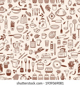Kitchenware Vector pattern. Tool and ware collection. Hand drawn, doodle cooking icon. Cookware element. Template, banner for design, menu, restaurant, cafe, bakery, wallpaper, recipe card, cookbook.
