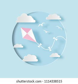 Kite with clouds and birds. Paper cut style. Vector illustration