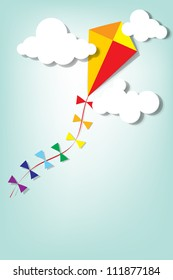kite up in the clouds. Vector paper cut image