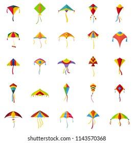 Kite flying festival surf icons set. Flat illustration of 25 kite flying festival surf vector icons isolated on white