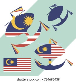 Kite flying with the flag of Malaysia Wau bulan Malaysian moon-kite national symbols set