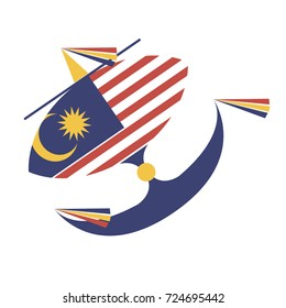 Kite flying with the flag of Malaysia Wau bulan Malaysian moon-kite national symbols