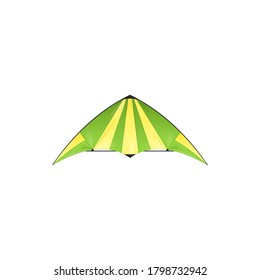 Kite isolated Uttarayan or Maghi festival symbol isolated icon. Vector kids toy with wings in yellow and green, summer fun object. Kite-balloon flying tradition Makar Sankranti in many parts of India
