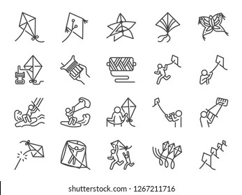 Kite line icon set. Included the icons as pilot, Kiteboarding, Kitesurfing, play, multiple kites and more.