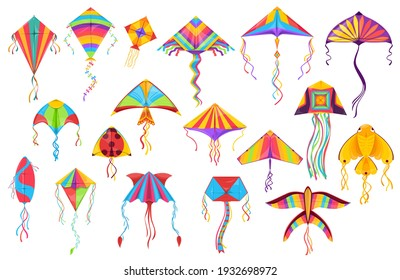 Kite paper toys cartoon vector of flying wind toys for summer children games and outdoor activity. Kites with colorful strings, tails and ornaments in shape of butterfly, bird, fish and ladybird