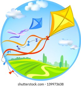 Kite and rural landscape. Vector illustration