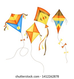 kite set of different colors in cartoon style isolated on white background.