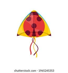 Kite in shape of ladybird or lady-beetle in sky isolated kids toy. Vector kite-balloon on wind, cartoon flying ladybug in sky. Summer activity object, Uttarayan International Kites Festival symbol