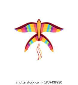 Kite in shape of rainbow color bird in sky isolated kids toy. Vector kite-balloon on wind, cartoon flying bird in sky. Outdoor summer activity object, Uttarayan International Kites Festival symbol