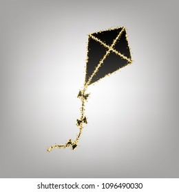 Kite sign. Vector. Blackish icon with golden stars at grayish background.