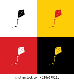 Kite sign. Vector. Icons of german flag on corresponding colors as background.