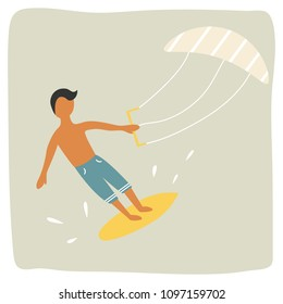 Kite surfer boy catching the wave retro poster