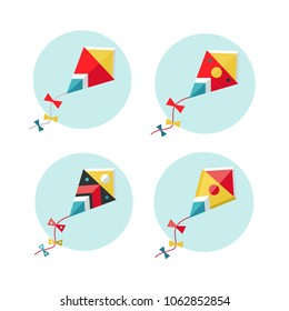 Kite vector illustration. Set of flat kites icons. Red kite in the sky. Freedom concept.