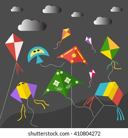 Kites on the black sky vector illustration