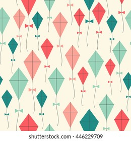 Kites seamless pattern. Flying kites background. Retro fabric style. Vector illustration