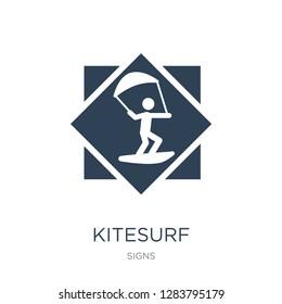 kitesurf icon vector on white background, kitesurf trendy filled icons from Signs collection, kitesurf vector illustration