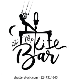 Kitesurfer Girl Lettering Design at the Bar. Female kitesurfing Calligraphy at the Kite Bar. Vector design.