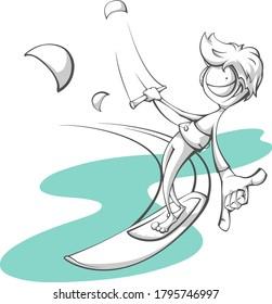 kitesurfer having fun on the water ride strapless board and show shaka sign