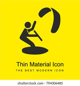 Kitesurfing bright yellow material minimal icon or logo design