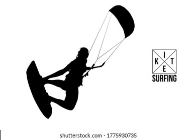 Kitesurfing and kiteboarding. Silhouette of a kitesurfer. Woman in a jump performs a trick. Big air competition. Vector illustration. Thanks for watching