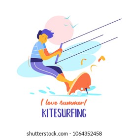 Kitesurfing. Sportsman kitesurfer. Water sports of extreme sports, summer rest on water. Colorful vector illustration in flat style.