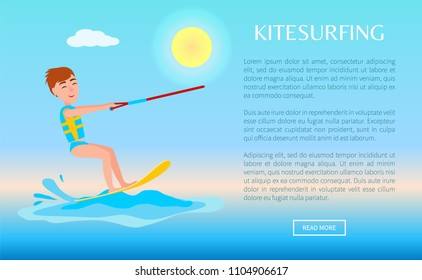 Kitesurfing web poster with kitesurfer smiling boy, man on board holding rope, kitesurf at sea splashes, kite surfer activity vector illustration.