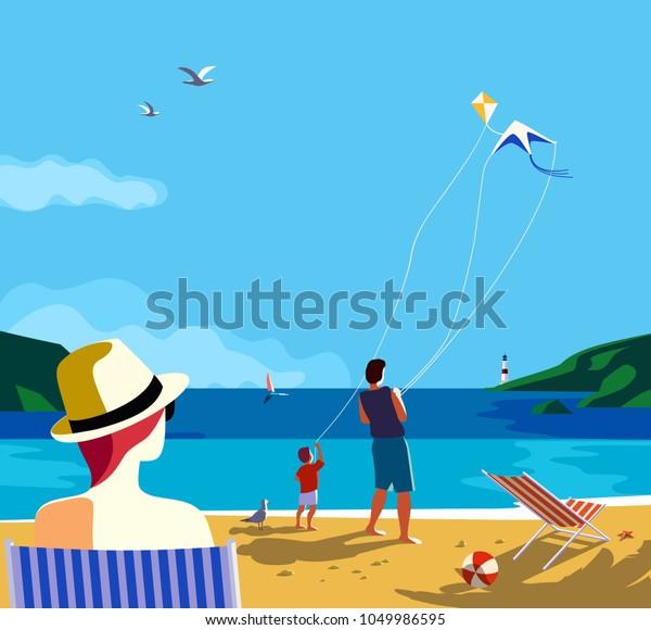 Vektor Stok Kiting Di Pantai Laut Kegiatan Rekreasi Tanpa Royalti 1049986595
