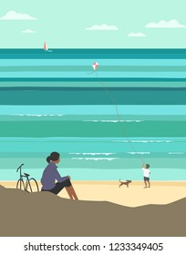 Kiting on sea beach. Leisure fun activity on sand seashore. Colorful minimal style cartoon. Small boy enjoy with flying kite. Summer vacation rest, relaxatoin. Vector ocean seascape scenic background