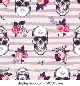 Kitschy seamless pattern with human skulls and half-colored buds of rose flowers against pink background with gray horizontal grungy stripes. Vector illustration for fabric print, banner, postcard.