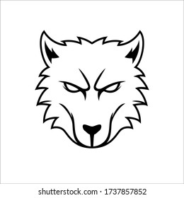 Kitsune asian fox head outline tattoo handrawn vector logo design