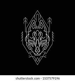 Kitsune Geometry Line Style for any merchandise or apparel design
