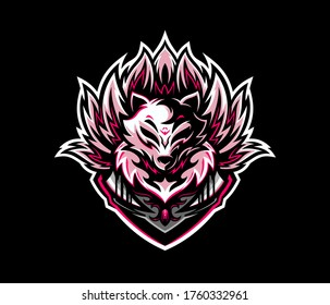 Kitsune with nine tails esport logo mascot. White fox logo.