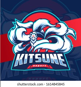 kitsune white fox nine tails mascot esport logo