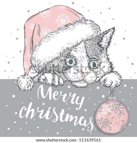 Kitten Cap New Years Ball Cute Stock Vector (Royalty Free) 511639561 ...