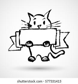 Kitten - cat holding sign or banner isolated on white
