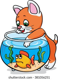 Kitten catch fish in the aquarium. Coloring. Cartoon Vector Illustration. Isolated on white background.