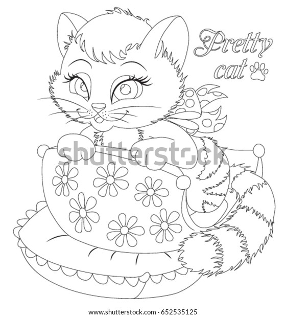 Kitten Coloring Book Page Animals Cartoon Stock Vector (Royalty Free)  652535125