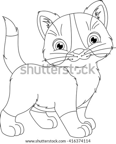 Kitten Coloring Page Stock Vector Royalty Free 416374114