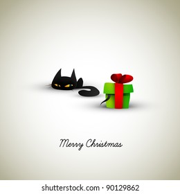 Kitten Excited About Present | Great Greeting for Pet Owners | EPS10 Graphic | Separate Layers Named Accordingly