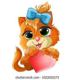A kitten with a heart for children's holidays or loved ones. Any children's products or furniture