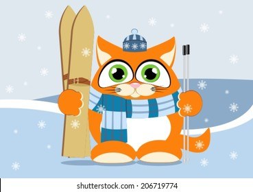 Kitten holding skis on a background of winter mountains