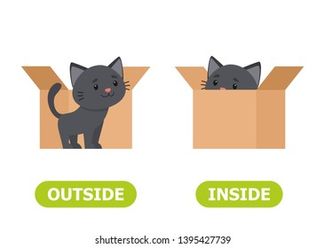 Kitten inside the box and outside. Illustration of opposites inside and outside.Card for teaching aid, for a foreign language learning. Vector illustration on white background, cartoon style.