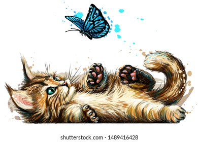 A kitten is playing with a butterfly. Wall sticker with the image of a blue-eyed Maine Coon kitten catching a butterfly in a watercolor style.
